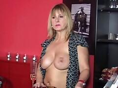 Chris works as a waitress in this small bar. The two men recognized that this horny waitress didnt wear bra and panty. The scene turns. Both men fucks her and at least the waitress tasted their cum..