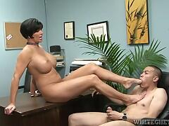 Milf school principal getting a foot fetish in her office